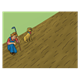 Farmer and Dog eyeing rows