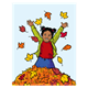 Girl Jumping in Leaves with blue background