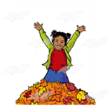 Girl Jumping in Leaves