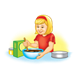 Mixing a Cake girl, mix, bowl, pan, with yellow background