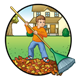 Autumn Scene boy raking leaves