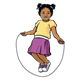 Girl Jumping Rope wearing a yellow shirt and a purple skirt