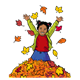 Girl Jumping in Leaves with leaves falling