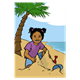 Tropical Beach girl playing in sand, toys, palm tree