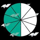 Abeka | Clip Art | Fraction Pie—showing five-tenths, green, white