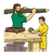 Joseph and Jesus at Work Color PNG