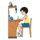 Boy Working at Desk with shelf above