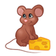 Brown Mouse with feet on cheese