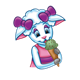 Amber Lamb eating an ice-cream cone