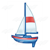 Blue and Red Sailboat