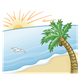 Tropical Beach Scene with palm tree and bird