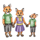 Red Fox Family three children