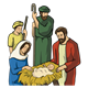 Nativity with family and shepherds