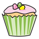 Vanilla Cupcake with green wrapper and pink frosting