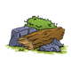 Rotten Log with rocks and bushes