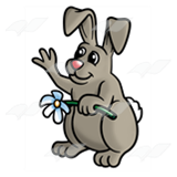 Waving Bunny with Flower