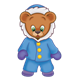 Button Bear wearing a parka and purple mittens