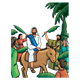 Jesus on Donkey in crowd with palm fronds