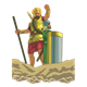 Goliath with shield bearer in rocks