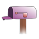 Empty Purple Mailbox  with flag down