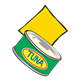 Tuna Can with a yellow slice of cheese