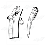 Cartoon Ruler and Pen