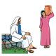 Jesus and Woman at well with water pot