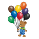 Button Bear with a bunch of balloons