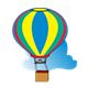 Hot Air Balloon and Cloud red, yellow, green, blue