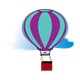 Hot Air Balloon and Cloud purple, turquoise