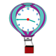 Hot Air Balloon Clock purple, turquoise