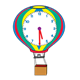 Hot Air Balloon Clock red, yellow, green, blue