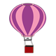 Hot Air Balloon pink, purple