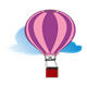 Hot Air Balloon and Cloud pink, purple
