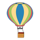 Hot Air Balloon blue, pink, yellow, green