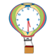 Hot Air Balloon Clock blue, pink, yellow, green