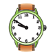 Green Wristwatch with brown band