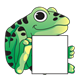 Frog holding blank sign