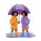 Two Girls standing in a puddle with an umbrella