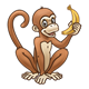 Brown Monkey holding closed banana