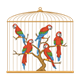 Golden Bird Cage with five parrots