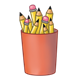 Red Pencil Cup holding pencils