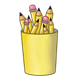 Yellow Pencil Cup holding pencils