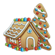 Gingerbread House with a gingerbread tree