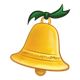 Gold Christmas Bell with a green ribbon