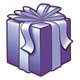 Dark Purple Present with a purple bow
