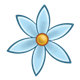 Blue Flower with six petals and yellow center