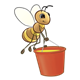 Bee carrying a red honey bucket