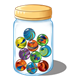 Jar of Marbles with swirls