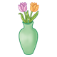 Green Vase with orange and pink tulips